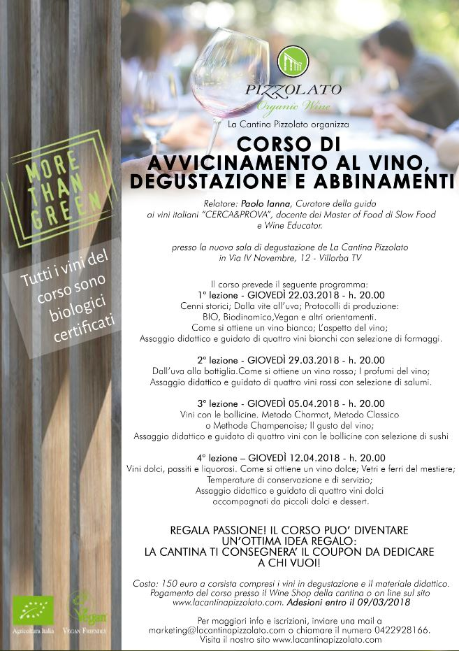 d523c88084 Corso di avvicinamento al vino, degustazione e abbinamenti con Paolo Ianna  | Cantina Pizzolato